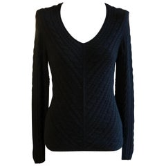 Loro Piana Black Ribbed Cashmere Sweater