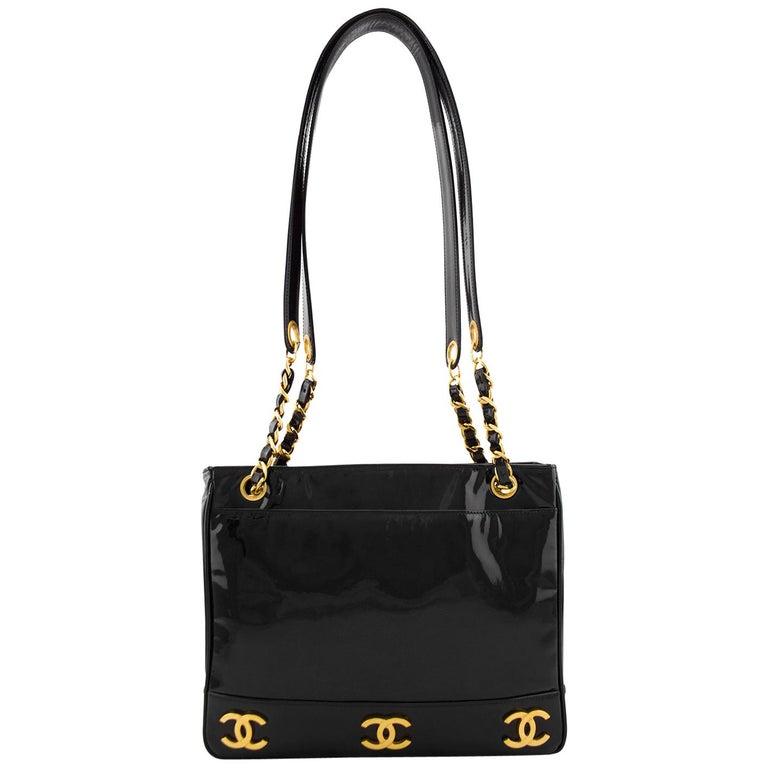 Chanel Black Patent Leather Double Shoulder Strap Bag 1980s For