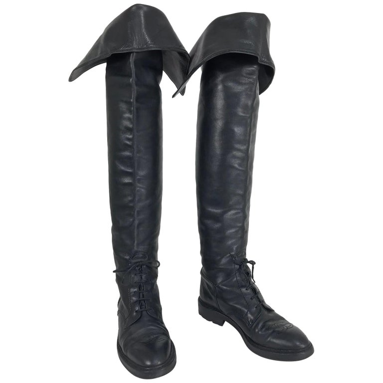 Chanel over-the-knee leather riding boots, 1990s, offered by Palm Beach Vintage