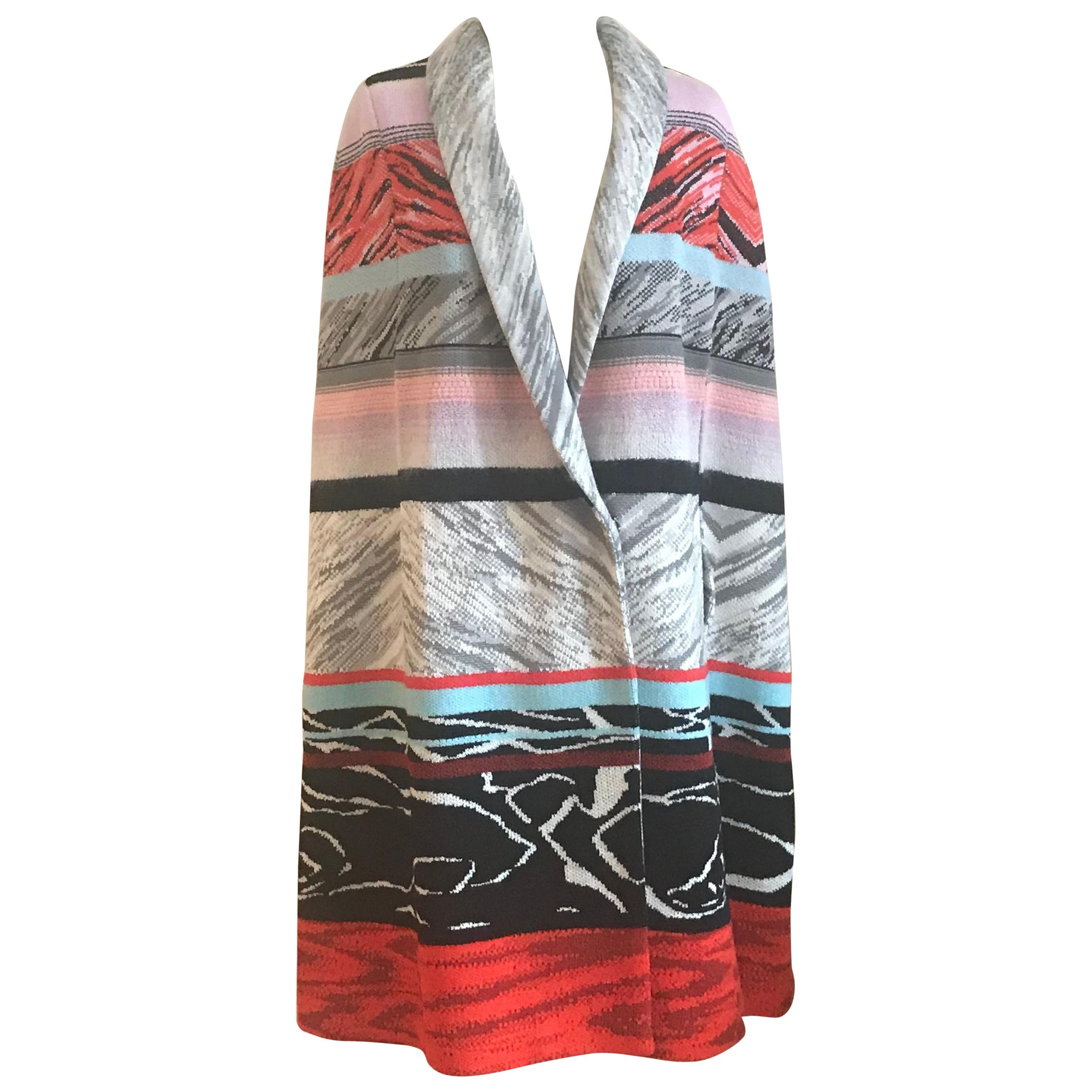 New Missoni Patterned Stripe Knit Cape Poncho with Shawl Collar