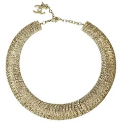 Chanel Choker Necklace in Gilt Metal Set with Colored Rhinestones