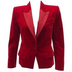 Vintage Yves Saint Laurent Red Velvet Blazer