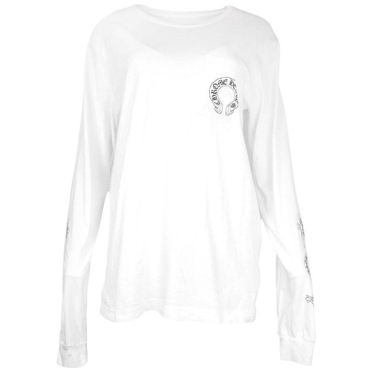 eb85cedd72fc Chrome Hearts Men s Unisex White Longsleeve Logo Pocket T-Shirt Sz L For  Sale