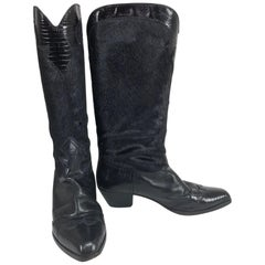 Black embossed alligator leather and black hair calf cowboy boots 1980s