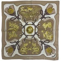 Hermes Tsubas Silk Twill Scarf Designed by Christiane Vauzelles 35 x 35