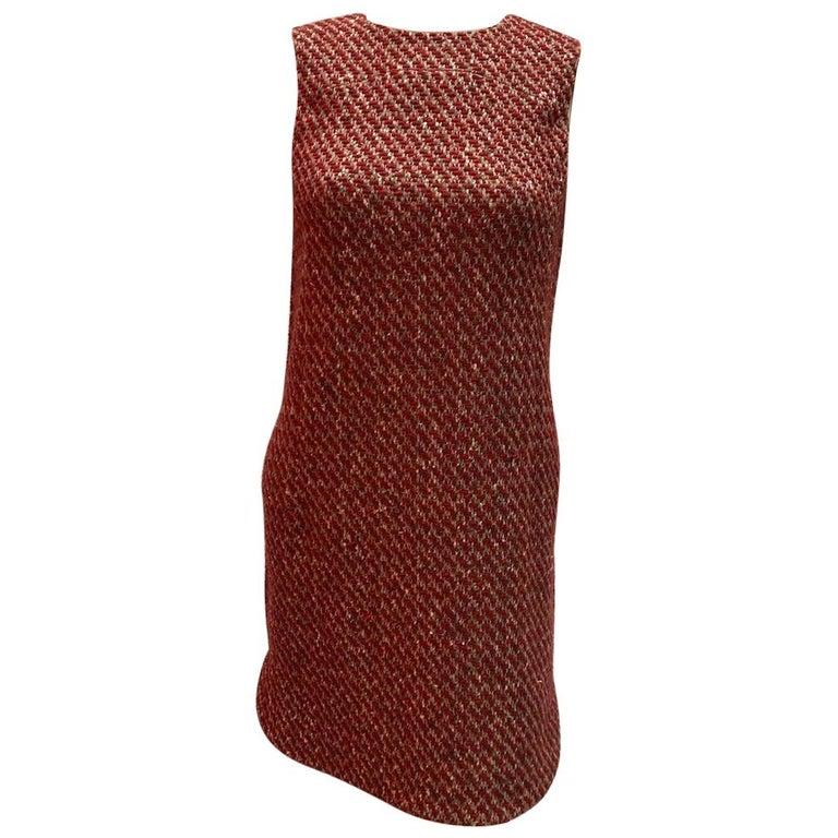 Loro Piana Red Tweed Shift Dress For Sale