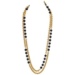 Chanel Black and Gold Double Long Necklace