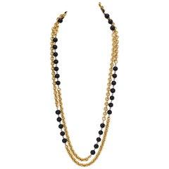 Chanel Schwarz & Weiße Lange Halskette
