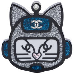 Chanel Silver Lucite Cat Pin