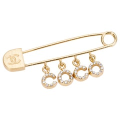 Chanel Safety Pin Coco Brooch Pin