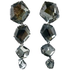 Gunmetal Gray Rock Crystal Statement Earrings by Herve Van der Straeten