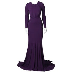 Michael Kors Purple Jersey Long Sleeve Backless Gown