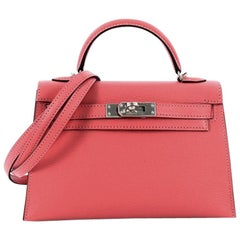 Hermes Kelly Mini II Handbag Rose Lipstick Chevre Mysore with Palladium Hardware