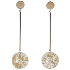 1990s Acrylic and Gold Flake Drop Earrings