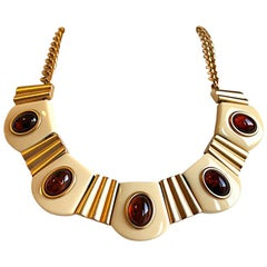 YVES SAINT LAURENT 'ivory & amber' lucite necklace