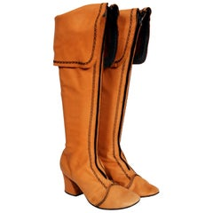 1970's Tan Brown Leather Wide-Cuff Knee High Bohemian Pirate Hippie Boots