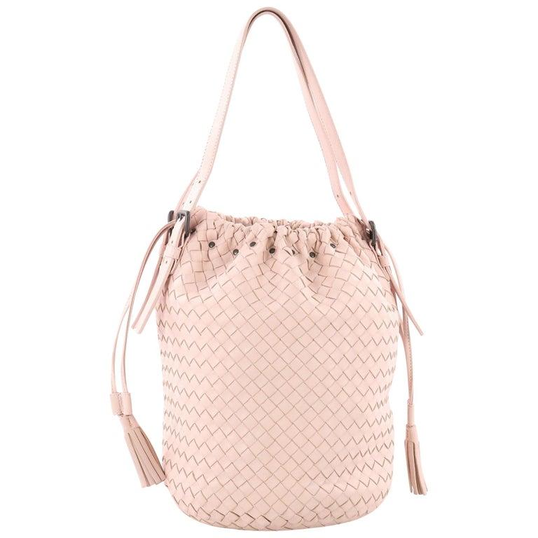 Bottega Veneta Drawstring Handle Bag in Two Tone Intrecciato Nappa