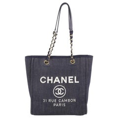 Chanel North South Deauville Chain Tote Denim Large