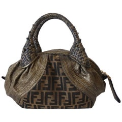 2000s Fendi Zucca Print Leather Top Handle Bag