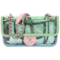 Chanel 2018 SOLD OUT Small PVC Quilted Flap Bag W/ Pastel Lambskin Leather Trim