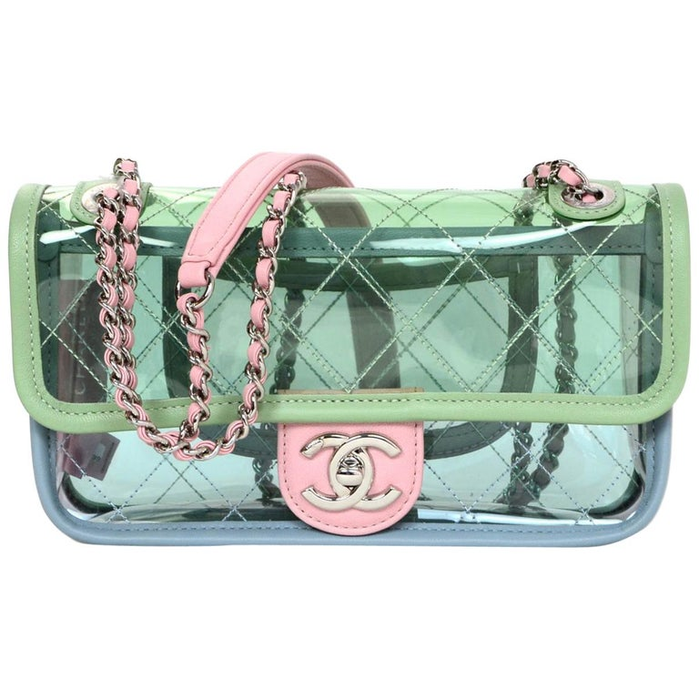 db39f0aa69be Chanel 2018 SOLD OUT Small PVC Quilted Flap Bag W/ Pastel Lambskin Leather  Trim For
