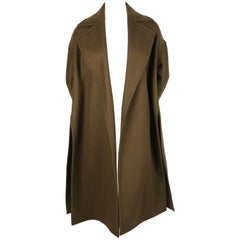 Celine By Phoebe Philo Khaki Wool Coat With Open Closure