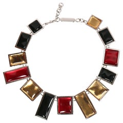 Yves Saint Laurent Vintage Silver Numbered Necklace With Poured Glass