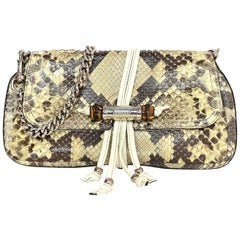 Gucci Off-White Python Bamboo Croisette Evening Bag W/ Tassels & Chain Handle