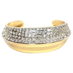 Yves Saint Laurent Vintage Asymmetrical Gilt Cuff Bracelet With Rhinestones