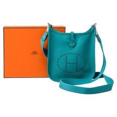 Hermes Mini Evelyne Blue Paon Epsom bag