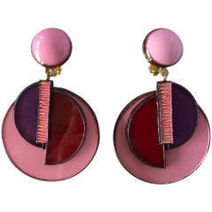 Pink and Red Pop Art Circle Statement Earrings by Cilea Paris