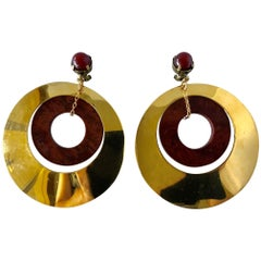 Vintage French Gold Hoop Statement Earrings