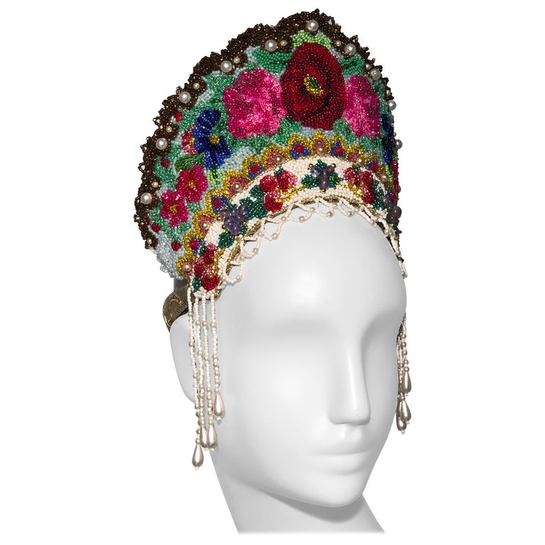 Torso Creations Russian Beaded Floral Mantilla Crown W/ Gold Lace Details For Sale
