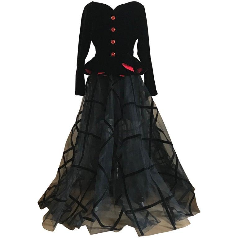 Yves Saint Laurent 1990s Rive Gauche Black Velvet Jacket Tulle Ball Skirt Suit For Sale