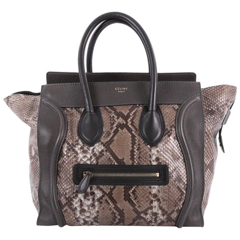 Celine Luggage Handbag Python Mini