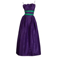 Loris Azzaro Vintage Purple + Green Silk Taffeta Evening Gown or Dress