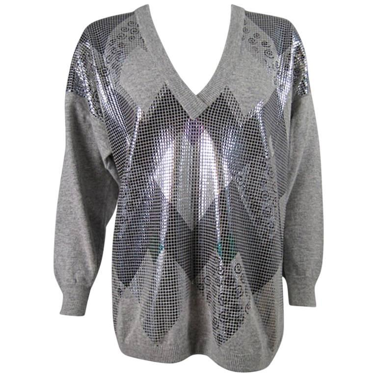 Krizia Metallic Embellished Sweater