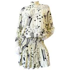 1980s Nicole Miller Silk Vacation Print Dress
