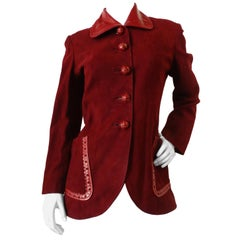 1980s Christian Dior Numbered Boutique Red Leather Jacket