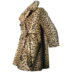 1960s Safari Faux Cheetah Fur Double-Breasted Trench-Style Coat W/ Belt