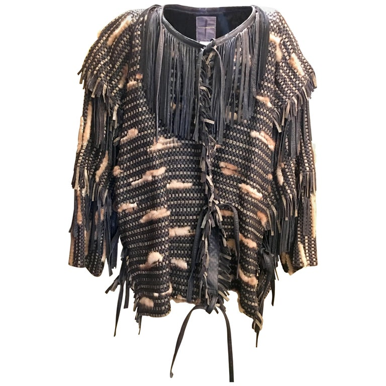 Vintage 1980s Issey Miyake Woven Fringed Sheepskin Leather Silk Fur Coat For Sale