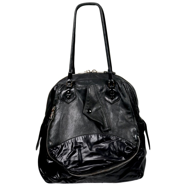 Nicolas Ghesquiere For Balenciaga Black Leather And Nylon Parachute Bag, 2003  For Sale