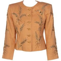 Yves Saint Laurent Gold Beaded Wheat Linen Jacket, 1980s