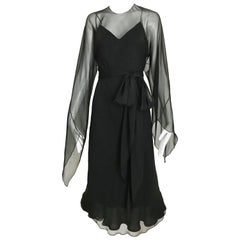 Halston Black Silk Chiffon Bias Cut Dress, 1970s