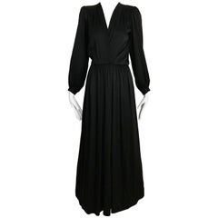 Vintage Saint Laurent YSL  Black Silk Long Sleeve Dress