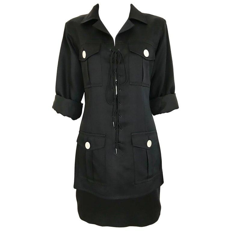 1990s Yves Saint Laurent YSL Black Safari Suit Sets For Sale