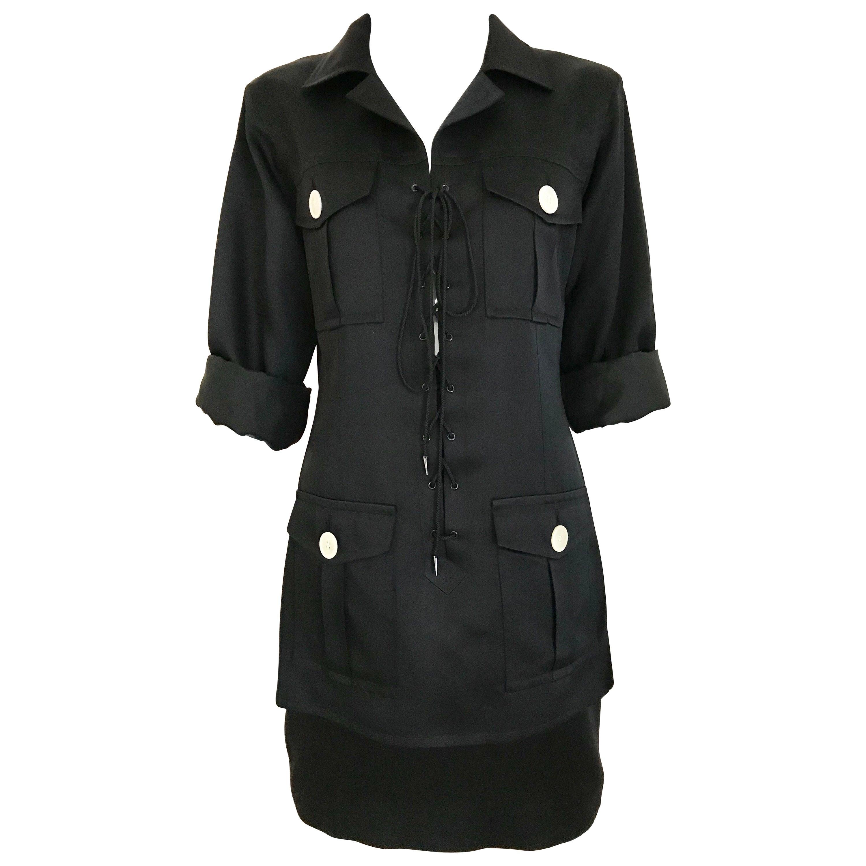 1990s Yves Saint Laurent YSL Black Safari Suit Sets