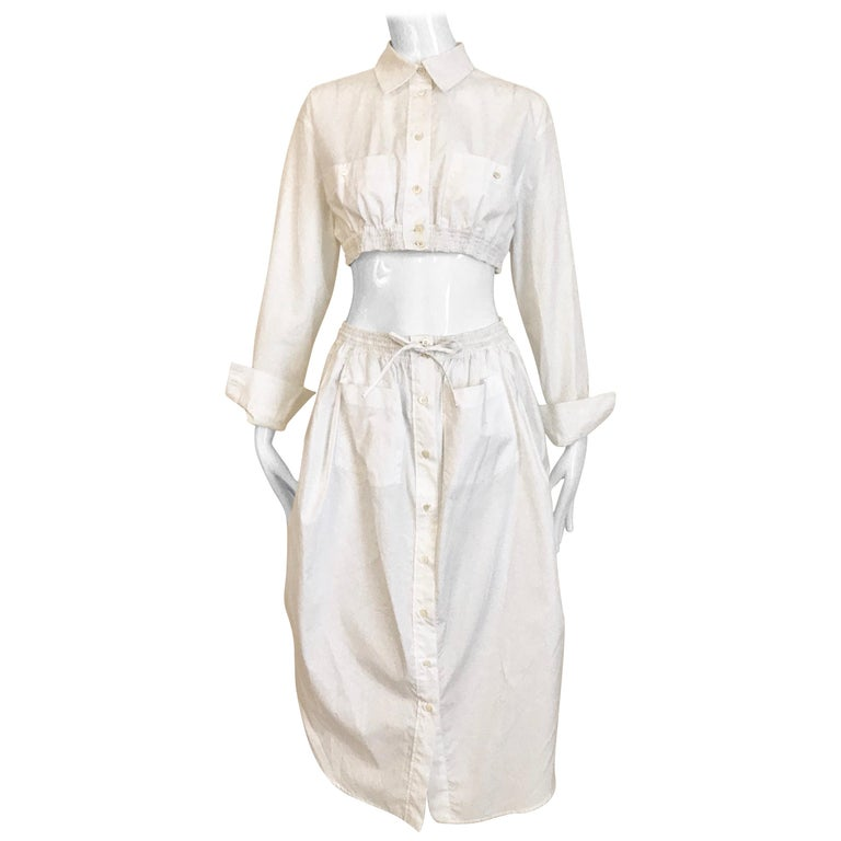 Jean Paul Gaultier White Cotton Crop Top and Skirt