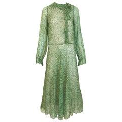 1970s Anna Weatherley Green Silk Print Dress
