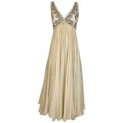 1960s Elizabeth Arden Creme Silk Sleeveless Gown
